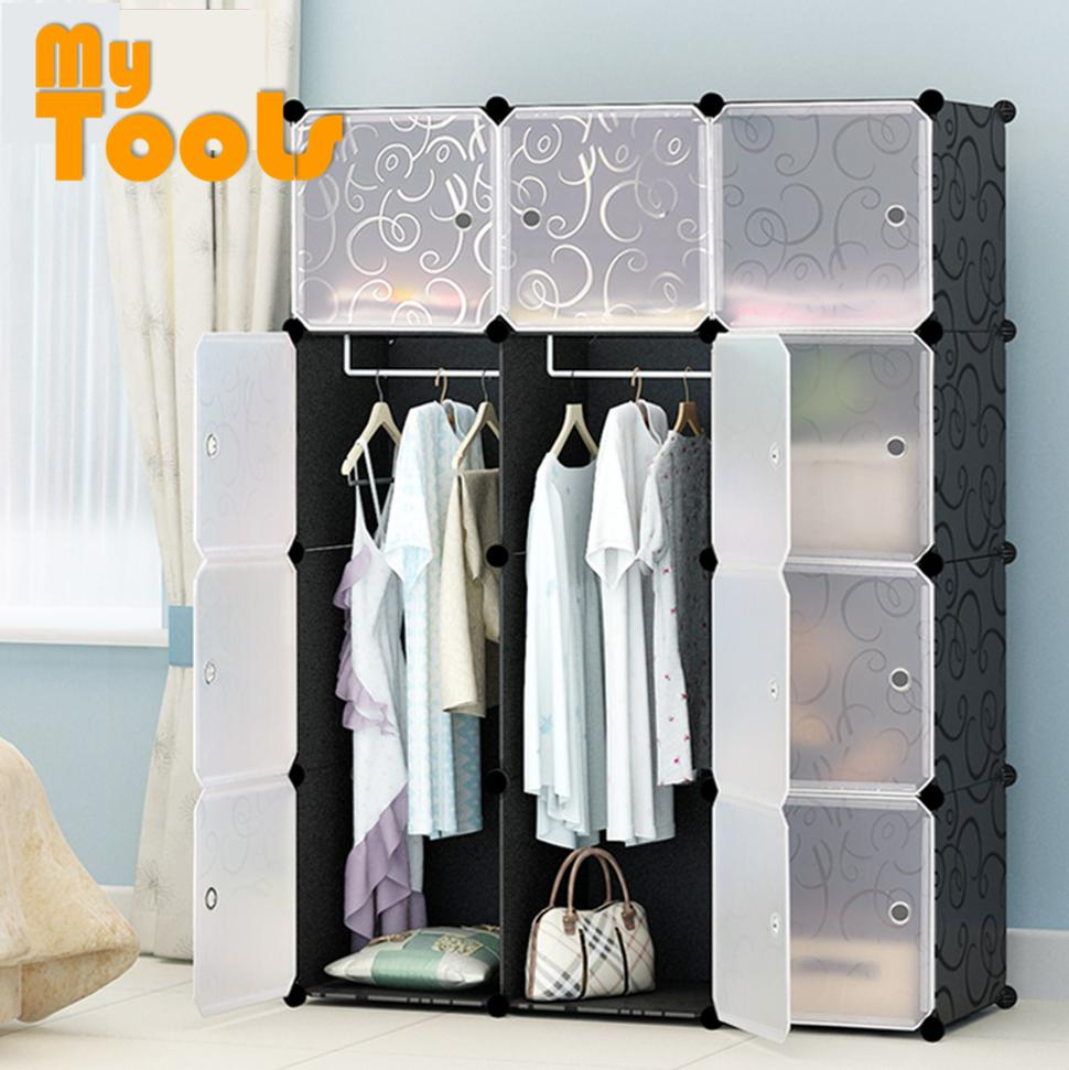 Cabinet 12 Cubes Black Stripes DIY Wardrobe Black Stripes (FOC: 2 hangers)