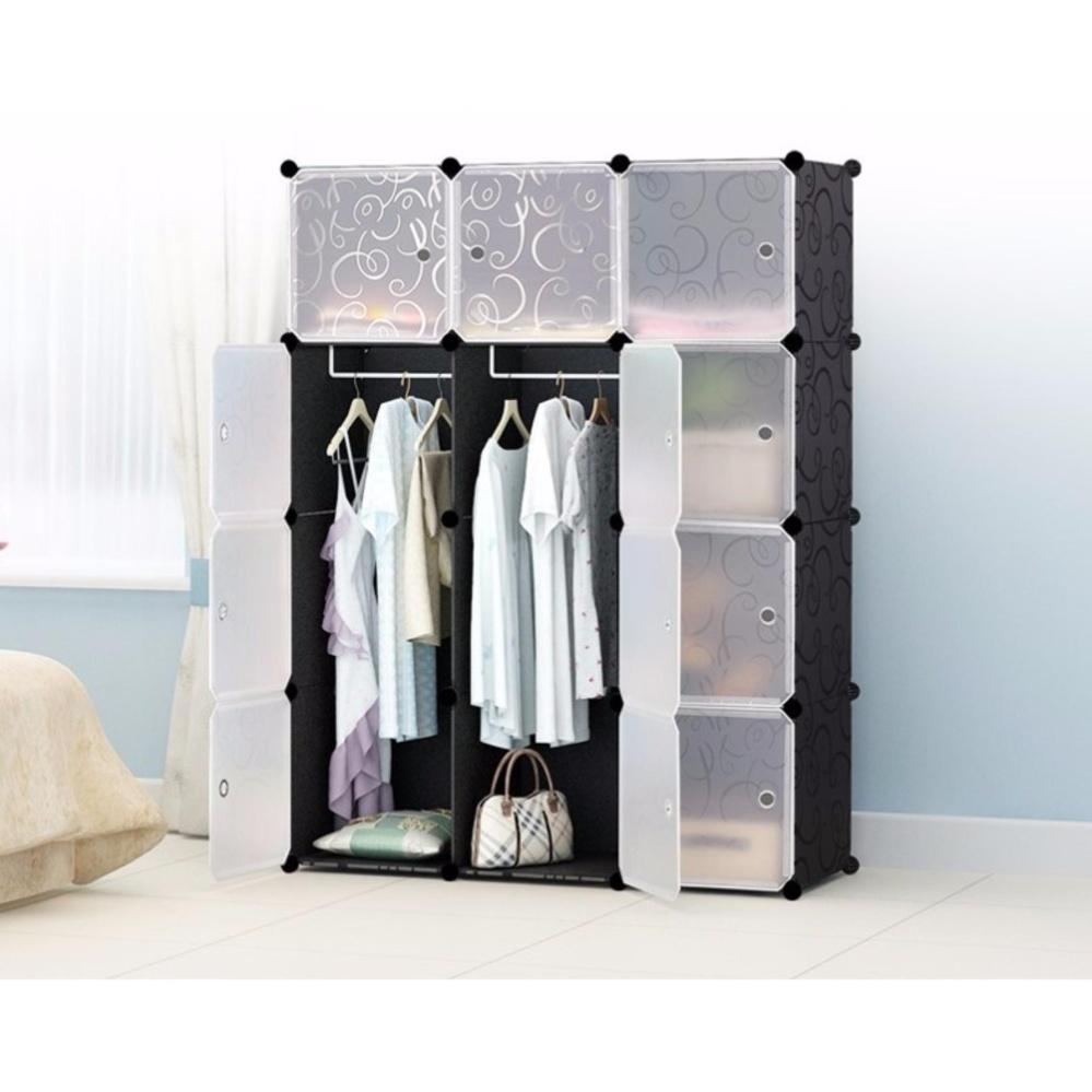 Cabinet 12 Cubes Black Stripes DIY Wardrobe Black Stripes (FOC: 2 hangers)