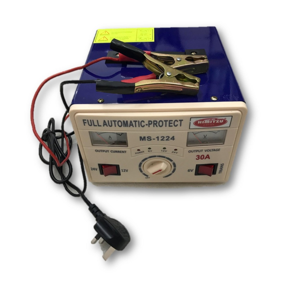 Himitzu 12V 24V 30A Lead Acid Car Battery Charger with Reverse Connection and Short Circuit Protecti