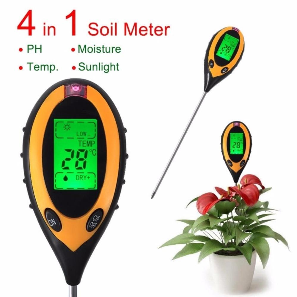 4 in 1 Digital Garden Soil Tester Moisture Thermometer Sunlight Ph Meter Temperature Tester
