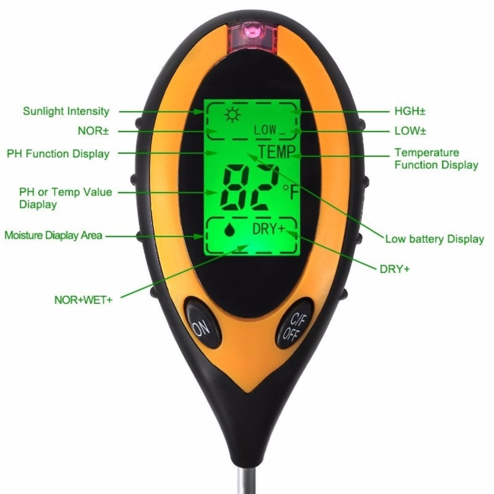 4 in 1 Digital Garden Soil Tester Moisture Thermometer Sunlight Ph Meter Temperature Tester