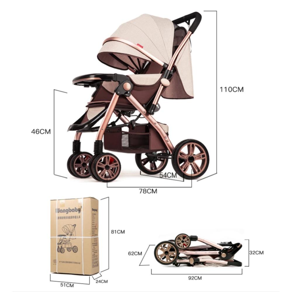 Super Luxury Baby Stroller 3 In 1 High Landscape Prams with Sleeping Basket Suspension Rubber Wheels