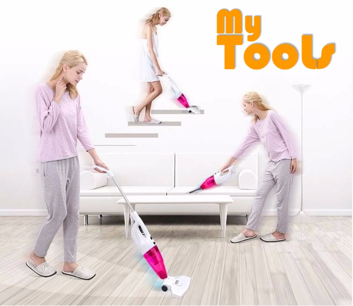 Mytools 2 in 1 Hand Push-Rod Handheld Vacuum Cleaner (RED)