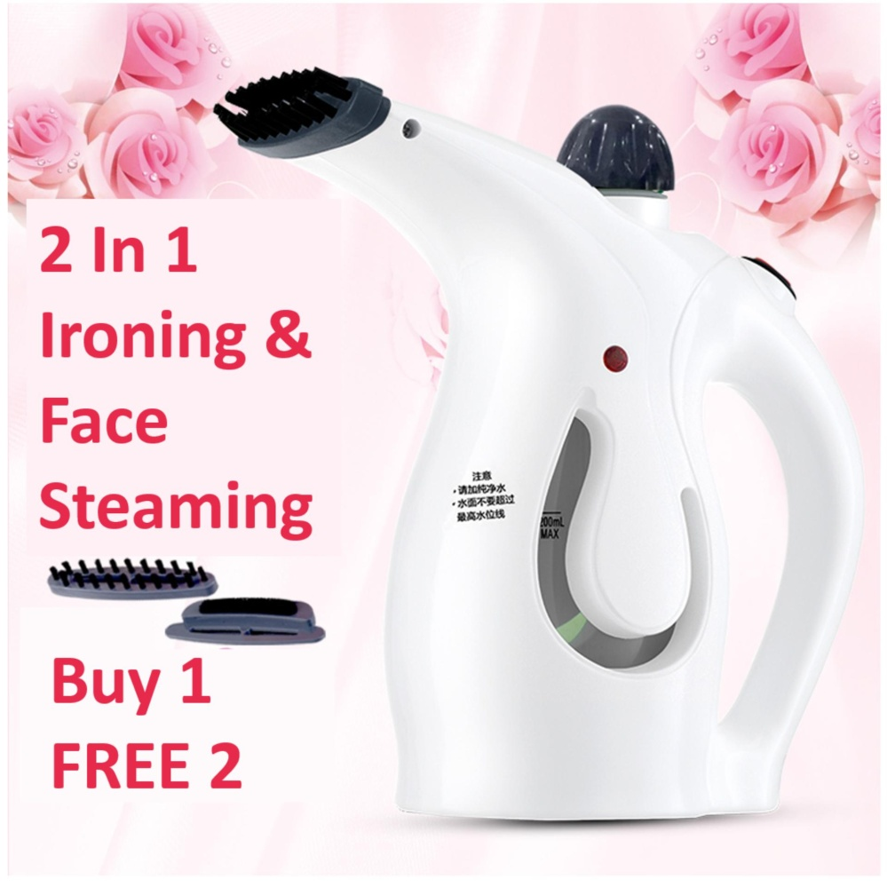 2 In 1 Portable Hand Iron Steam Garment Steamer Brush & Face Beauty Steaming (White)