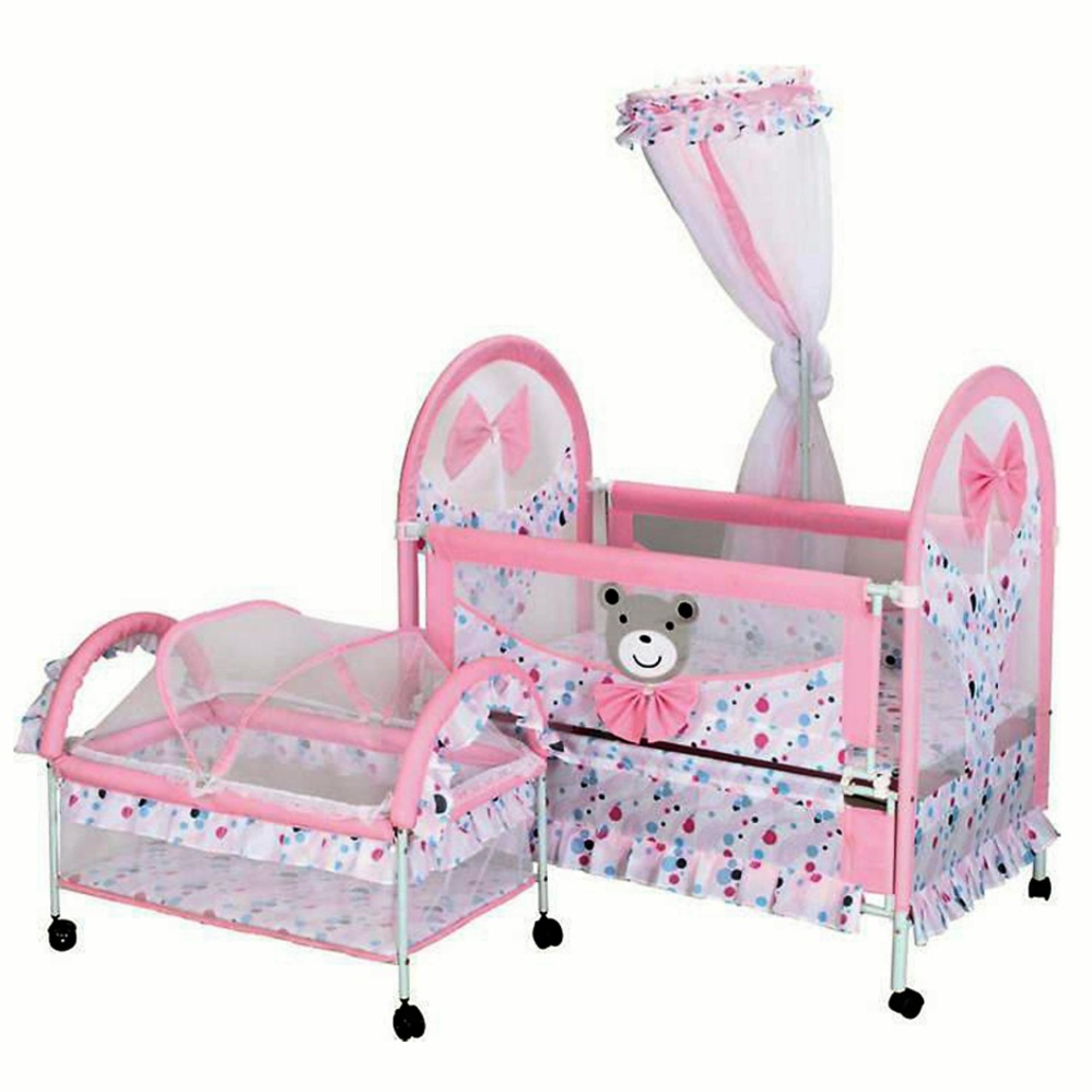 2 In 1 Double Baby Bed Portable Crib Folding Swinging shaker With Mosquito Nets (Pinks / Blue)