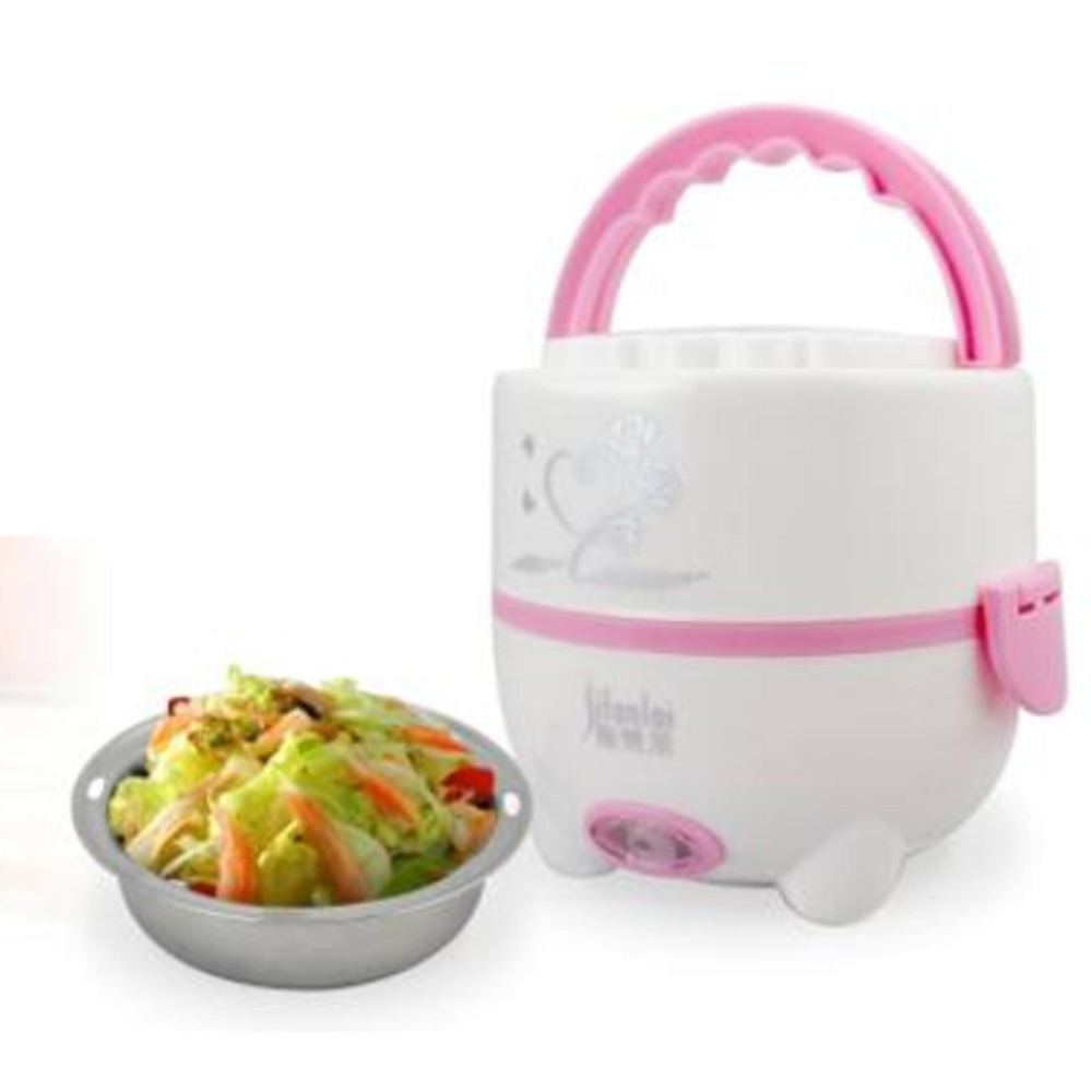 Multifunctional Stainless Steel Electric Mini Rice Cooker Lunch Box (Pink)