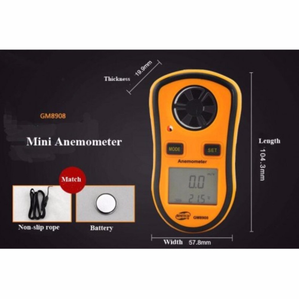 Digital LCD Smart Anemometer For Wind Speed Gauge Meter Temperature